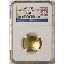 2014-W $5 Baseball Hall of Fame Commemorative Gold Coin NGC MS70