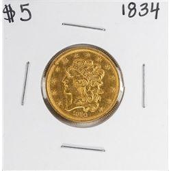 1834 $5 Classic Liberty Head Half Eagle Gold Coin