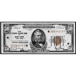 1929 $50 Federal Reserve Note New York