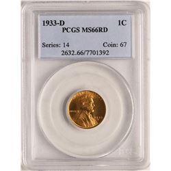 1933-D Lincoln Wheat Cent Coin PCGS MS66RD