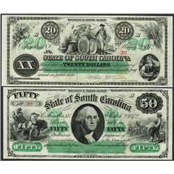Lot of 1872 $20 & $50 State of South Carolina Revenue Bond Obsolete Notes
