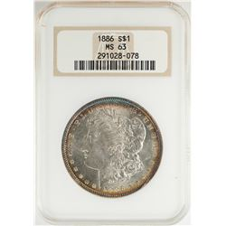 1886 $1 Morgan Silver Dollar Coin NGC MS63 Nice Toning Old Fatty Holder