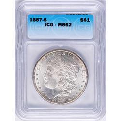 1887-S $1 Morgan Silver Dollar Coin ICG MS62