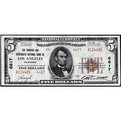 1929 $5 Farmers and Merchants Los Angeles, CA CH# 6617 National Currency Note