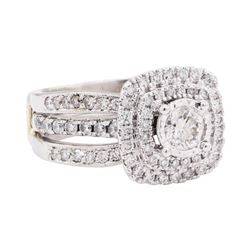 Platinum & 14KT White Gold 1.59 ctw Diamond Ring And Ring Guard