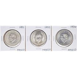 Lot of (3) Mexico Cinco Pesos Silver Coins