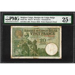 1912-27 Belgian Congo Banque du Congo Belge 20 Francs Bank Note PMG Very Fine 25