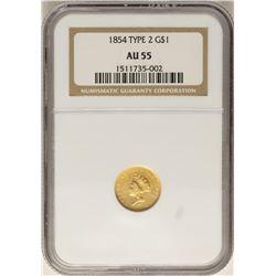 1854 $1 Type 2 Indian Princess Head Gold Dollar Coin NGC AU55
