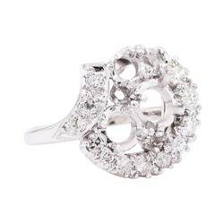 Platinum 1.00 ctw Diamond Round Semi-mount Ring