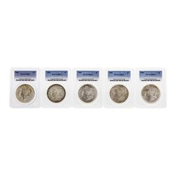 Lot of (5) 1886 $1 Morgan Silver Dollar Coins PCGS MS63