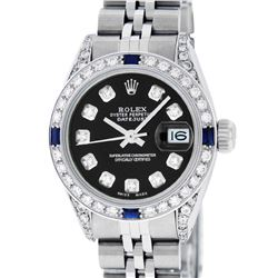 Rolex Ladies Stainless Steel Black Diamond Lugs & Sapphire Datejust