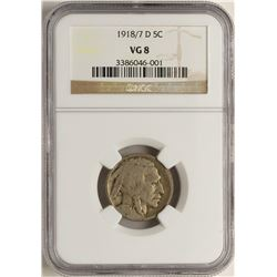 1918/7-D Buffalo Nickel Coin NGC VG8