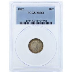 1892 Liberty Barber Head Dime PCGS MS64