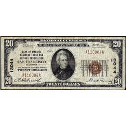 1929 $20 Bank of America San Francisco, CA CH# 13044 National Currency Note