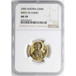 2000 Austria 500 Schillings Birth of Christ Gold Coin NGC MS70