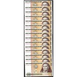 Lot of (15) 1987 Peru Quinientos Intis Uncirculated Bank Notes