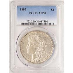 1893 $1 Morgan Silver Dollar Coin PCGS AU50