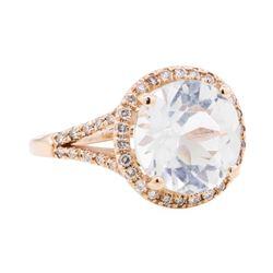 14KT Rose Gold 5.40 ctw Aquamarine And Diamond Ring