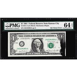1981 $1 Federal Reserve Note ERROR Ink Smear Fr.1911-J PMG Choice Uncirculated 6