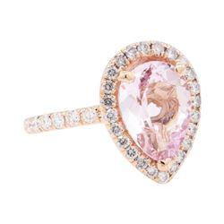 14KT Rose Gold 3.04 ctw Morganite And Diamond Ring