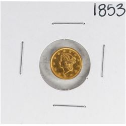 1853 Type 1 $1 Liberty Head Gold Dollar Coin