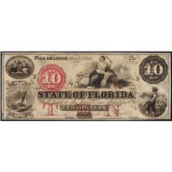 1864 $10 State of Florida Tallahassee Obsolete Bank Note
