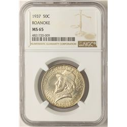 1937 Roanoke Commemorative Half Dollar Coin NGC MS65