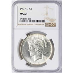 1927-D $1 Peace Silver Dollar Coin NGC MS61