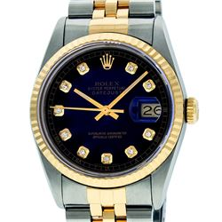 Rolex Men's Two Tone 14K Blue Vignette Diamond 36MM Datejust Wriswatch