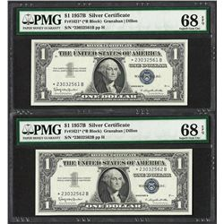 (2) Consecutive 1957B $1 Silver Certificate STAR Notes PMG Superb Gem Unc. 68PPQ