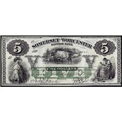 1862 $5 Somerset and Worcester Savings Bank Maryland Obsolete Note