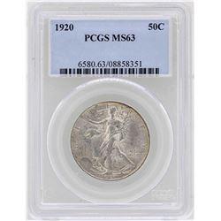 1920 Walking Liberty Half Dollar Coin PCGS MS63