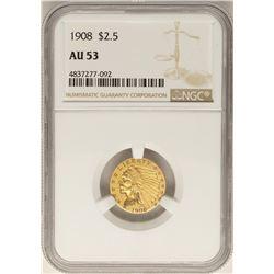 1908 $2 1/2 Indian Head Quarter Eagle Gold Coin AU53