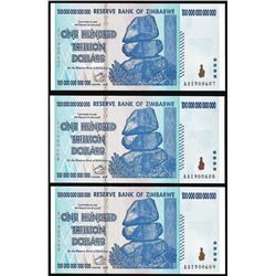 Lot of (3) Consecutive Zimbabwe One Hundred Trillion Dollar Notes