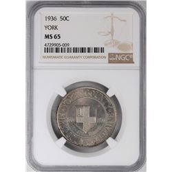 1936 York County Commemorative Half Dollar Coin NGC MS65