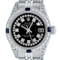 Rolex Ladies Stainless Steel 26MM Black String Diamond & Sapphire Datejust Wrist
