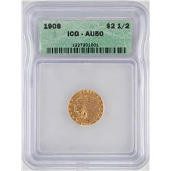 1908 $2 1/2 Indian Head Quarter Eagle Gold Coin ICG AU50