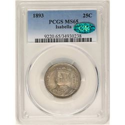1893 Isabella Commemorative Quarter Coin PCGS MS65 CAC
