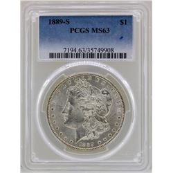 1889-S $1 Morgan Silver Dollar Coin PCGS MS63
