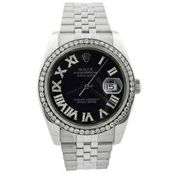 Rolex Datejust Stainless Steel 36mm Black Roman Diamond Dial Watch