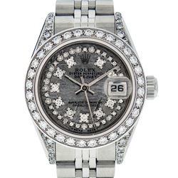 Rolex Ladies Stainless Steel Quickset Jubilee Datejust Wristwatch With Rolex Box