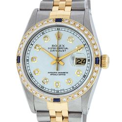 Rolex Mens Two Tone 14K Silver Diamond & Sapphire 36MM Datejust Wriswatch