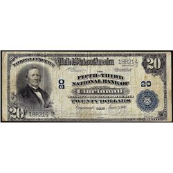 1902 $20 National Bank of Cincinnati CH# 20 National Currency Note
