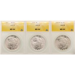 Lot of (3) 1923 $1 Peace Silver Dollar Coins ANACS MS64