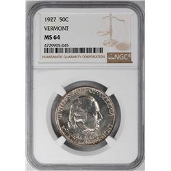 1927 Vermont Sesquicentennial Commemorative Half Dollar Coin NGC MS64