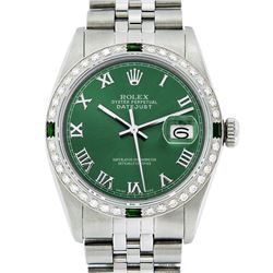 Rolex Mens Stainless Steel Green Roman Diamond & Emerald Datejust Wristwatch