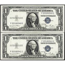 Changeover Pair of 1935D Wide- Narrow $1 Silver Certificate Notes
