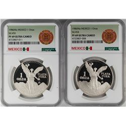 Lot of (2) 1986Mo Mexico Proof 1 Onza Libertad Silver Coins NGC PF69 Ultra Cameo