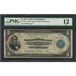 1918 $5 Federal Reserve Bank Note Philadelphia Fr.783 PMG Fine 12