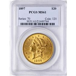 1897 $20 Liberty Head Double Eagle Gold Coin PCGS MS61
